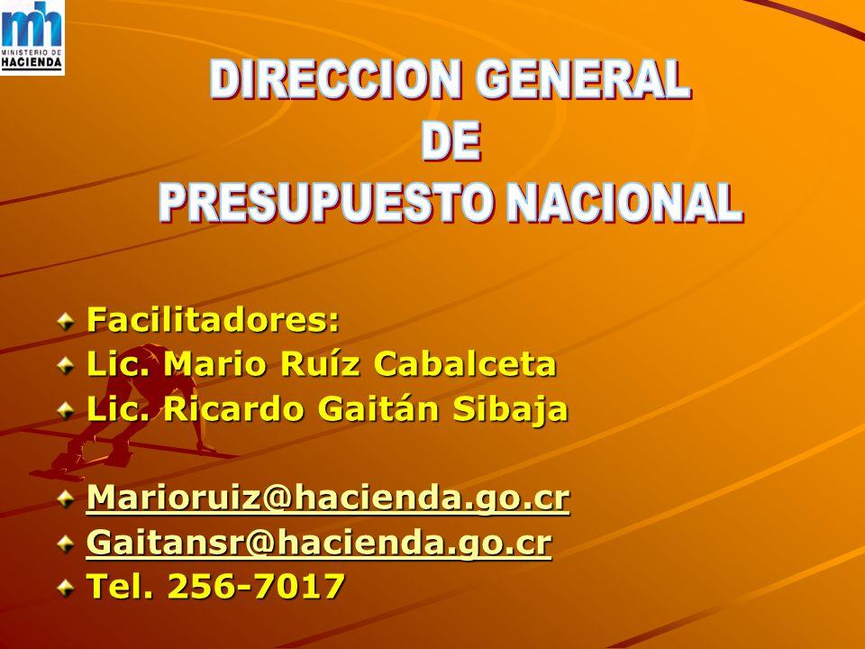 Facilitadores: Lic. Mario Ruíz Cabalceta Lic.
