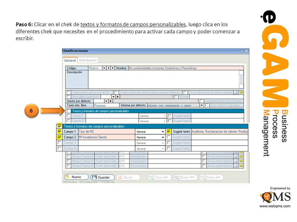 Paso 6: Clicar en el chek de textos y formatos de campos personalizables, luego clica en los diferentes chek que necesites en el procedimiento para activar cada campo y poder comenzar a escribir.