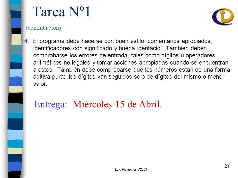 Luis Pizarro Q. ©2003 21 Tarea Nº1 4.