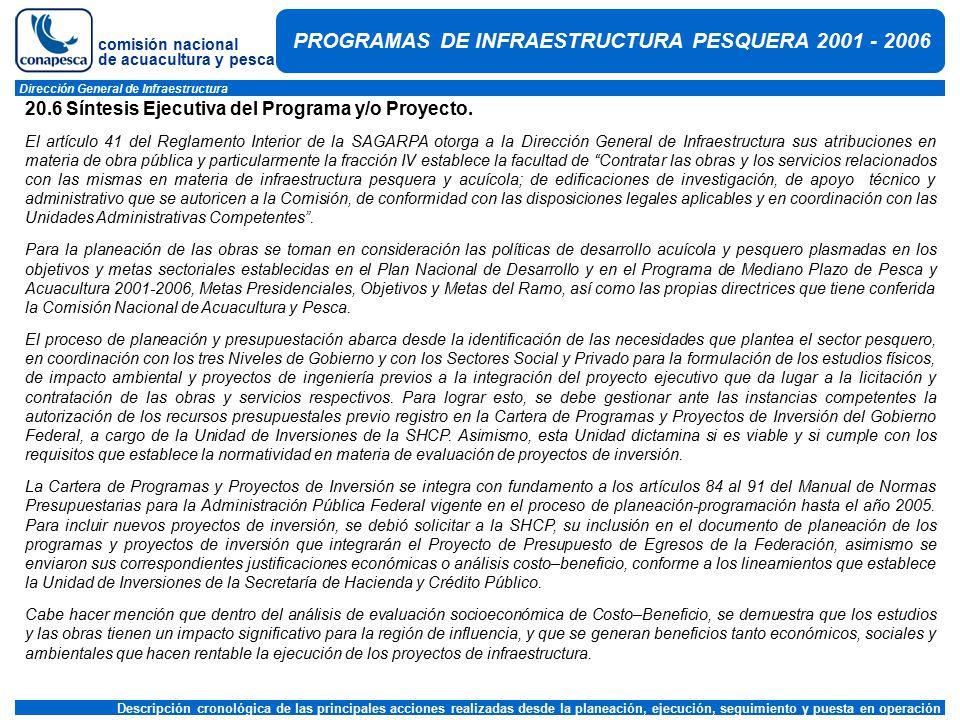 comisión nacional de acuacultura y pesca Dirección General de Infraestructura Descripción cronológica de las principales acciones realizadas desde la planeación, ejecución, seguimiento y puesta en operación PROGRAMAS DE INFRAESTRUCTURA PESQUERA 2001 - 2006 20.6 Síntesis Ejecutiva del Programa y/o Proyecto.