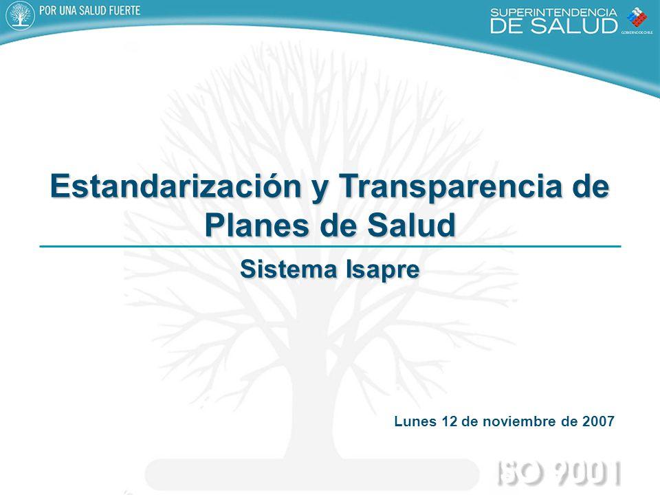 Estandarización y Transparencia de Planes de Salud Sistema Isapre Lunes 12 de noviembre de 2007