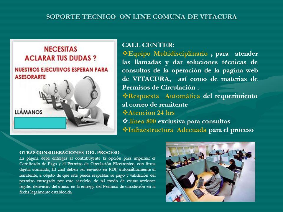SOPORTE TECNICO ON LINE COMUNA DE VITACURA CALL CENTER:  Equipo Multidisciplinario, para atender las llamadas y dar soluciones técnicas de consultas de la operación de la pagina web de VITACURA, así como de materias de Permisos de Circulación.