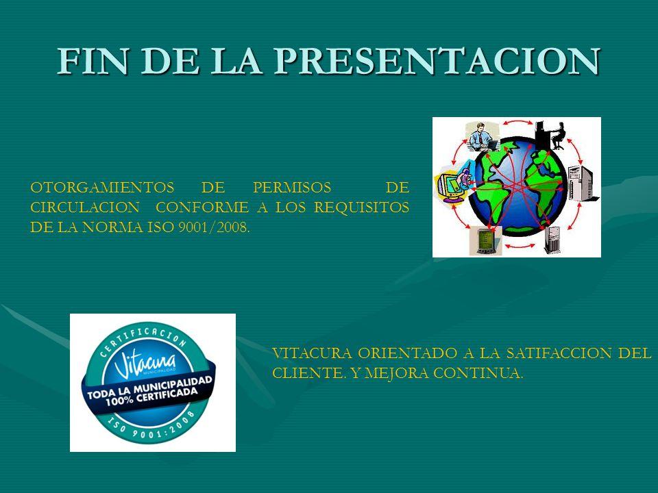 FIN DE LA PRESENTACION OTORGAMIENTOS DE PERMISOS DE CIRCULACION CONFORME A LOS REQUISITOS DE LA NORMA ISO 9001/2008.