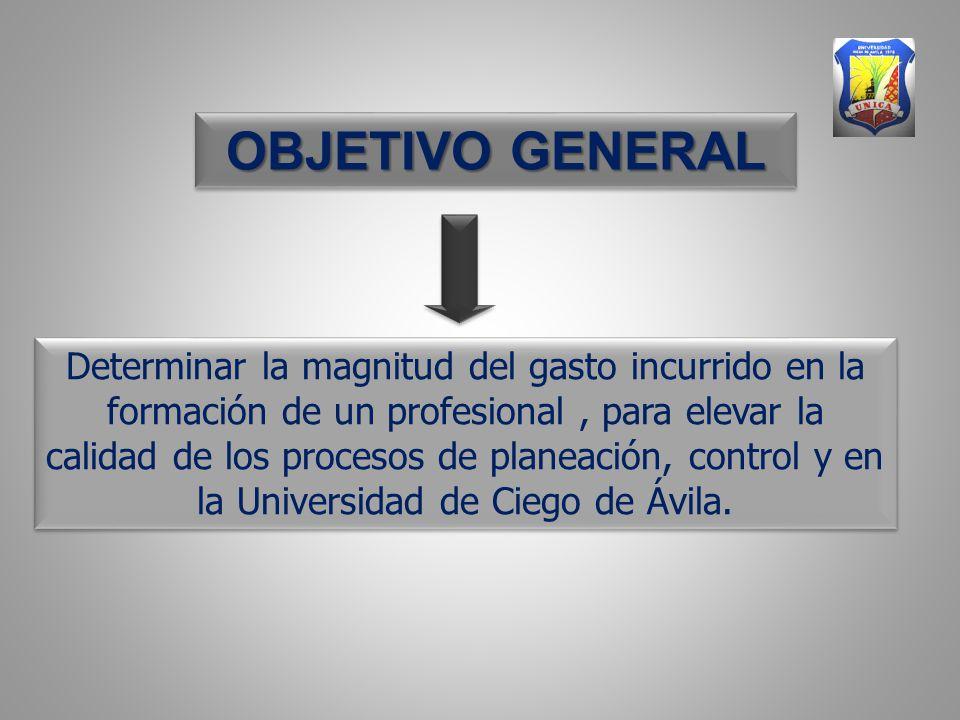 Determinar la magnitud del gasto incurrido en la formación de un profesional, para elevar la calidad de los procesos de planeación, control y en la Universidad de Ciego de Ávila.
