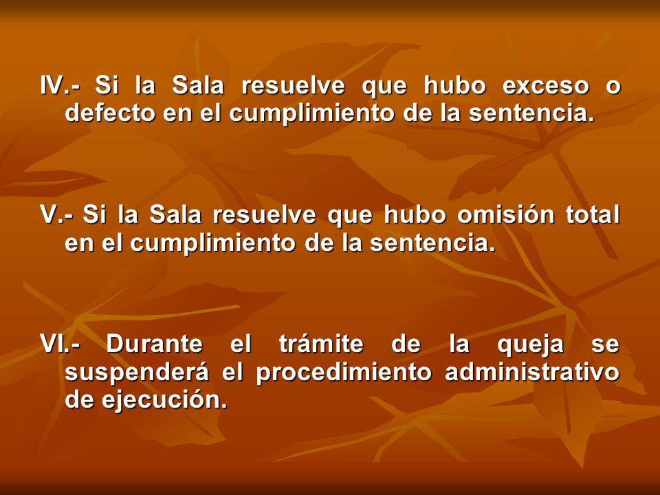 IV.- Si la Sala resuelve que hubo exceso o defecto en el cumplimiento de la sentencia.