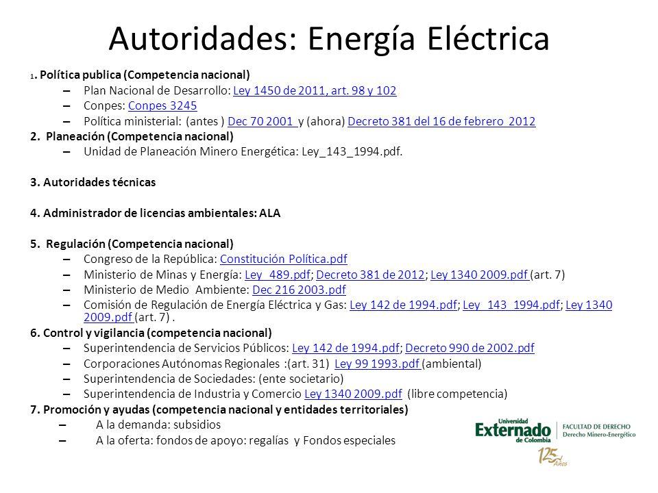 Autoridades: Energía Eléctrica 1.