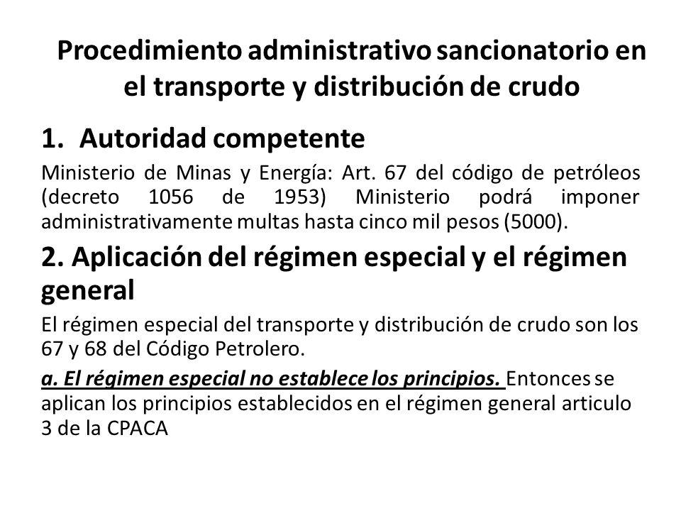 Procedimiento administrativo sancionatorio en el transporte y distribución de crudo 1.Autoridad competente Ministerio de Minas y Energía: Art.