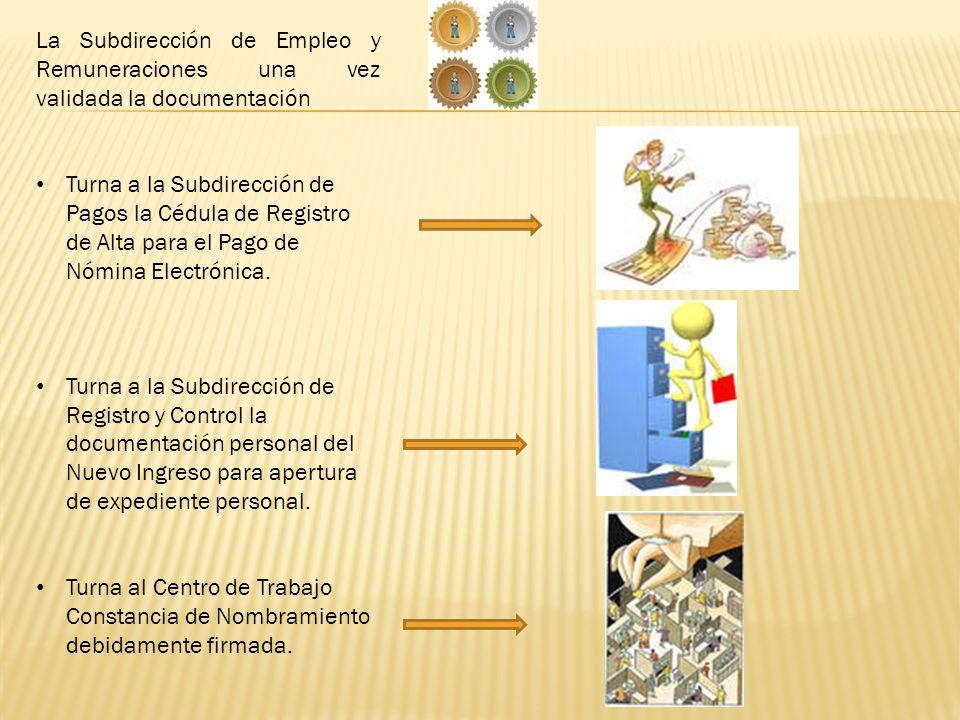 La Subdirección de Empleo y Remuneraciones una vez validada la documentación Turna a la Subdirección de Pagos la Cédula de Registro de Alta para el Pago de Nómina Electrónica.