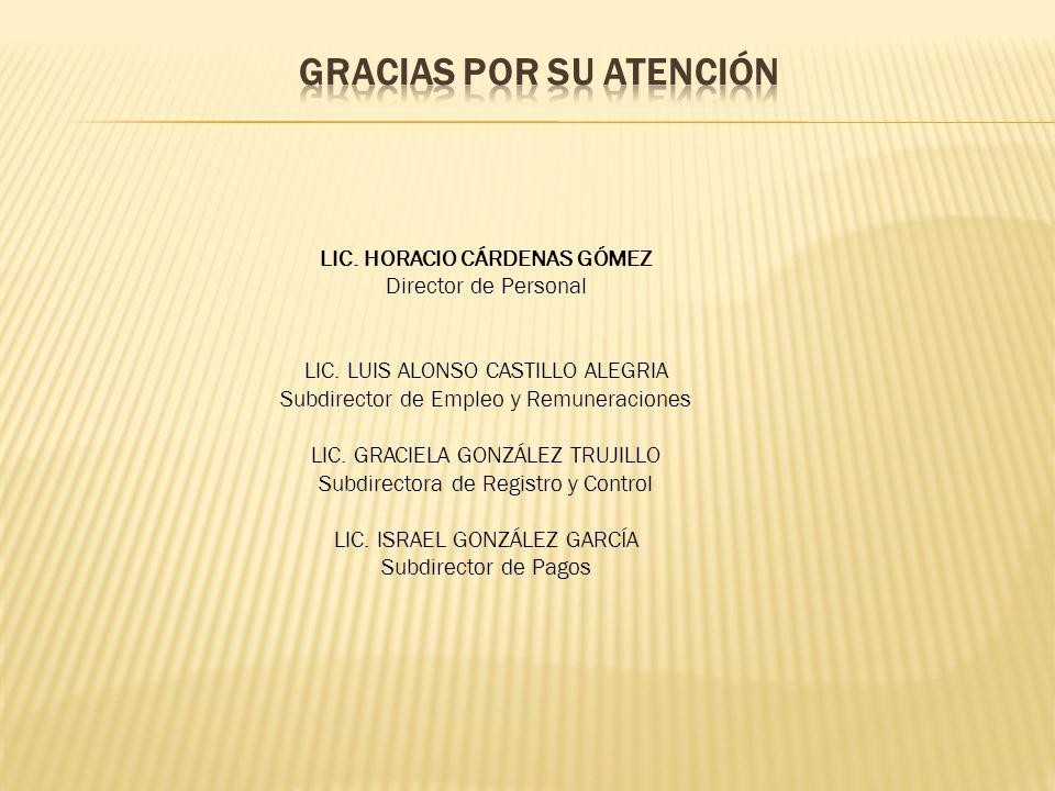 LIC. HORACIO CÁRDENAS GÓMEZ Director de Personal LIC.