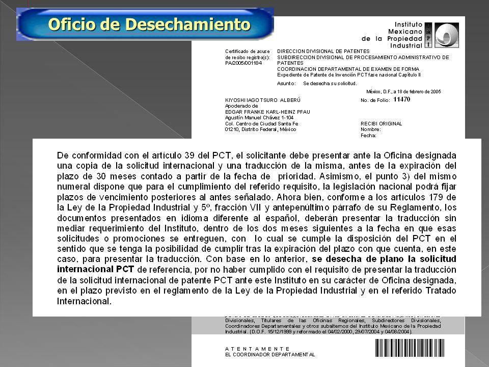 PA/2005/11470 Oficio de Desechamiento