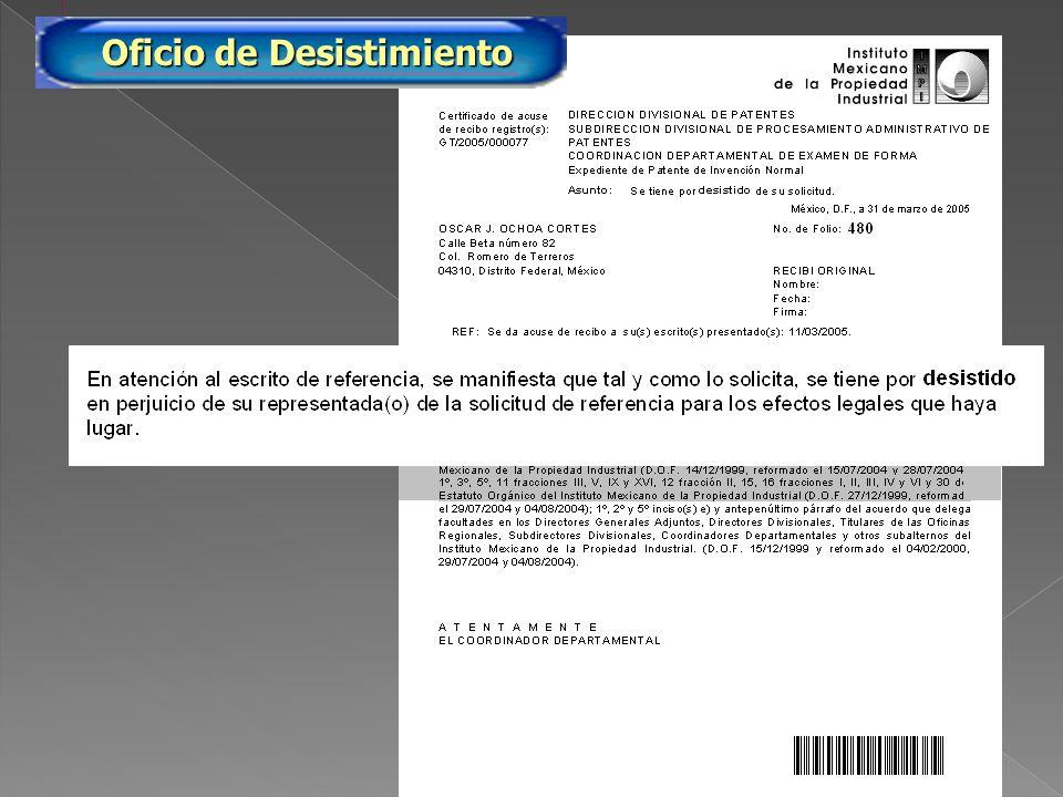 PA/2005/480 Oficio de Desistimiento