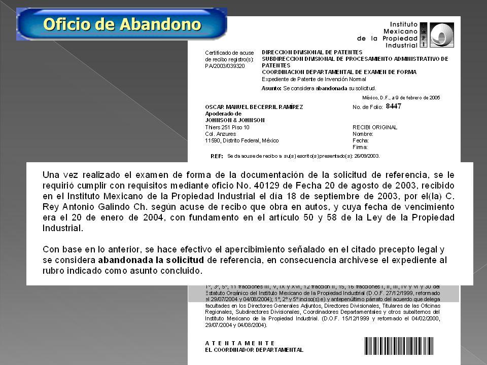 PA/2005/8447 Oficio de Abandono