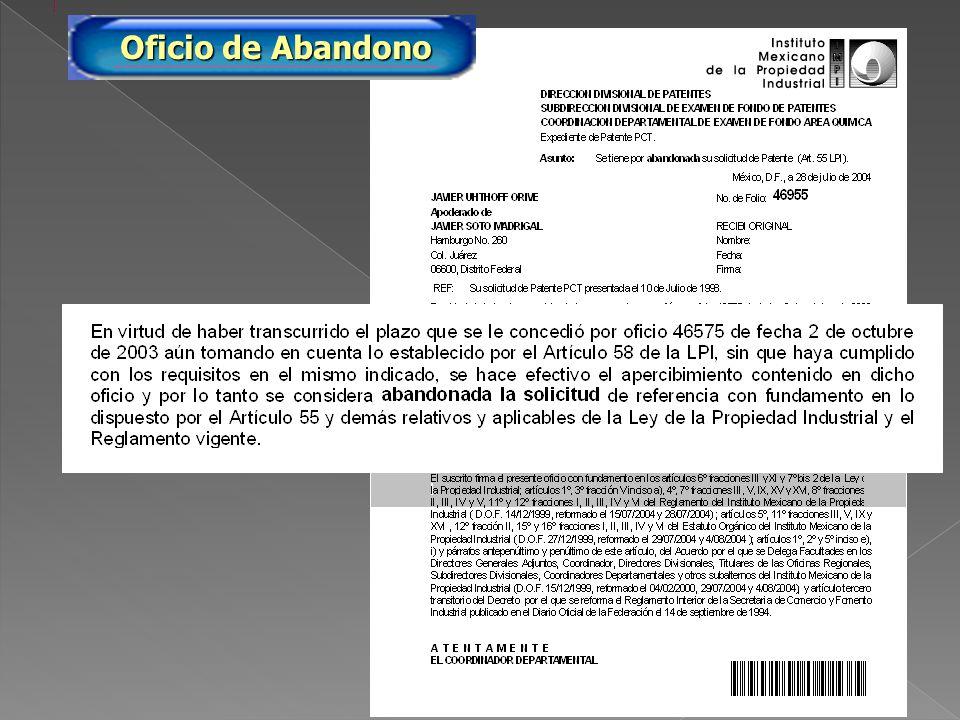 PA/2005/46955 Oficio de Abandono