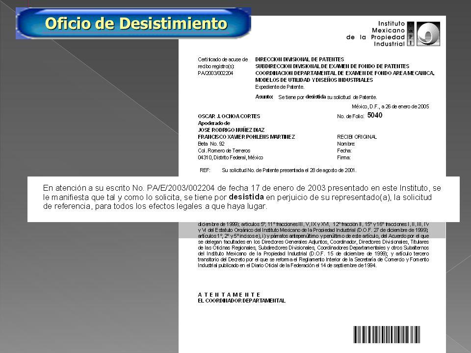 PA/2005/5040 Oficio de Desistimiento