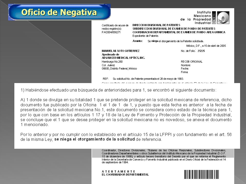PA/2005/25225 Oficio de Negativa