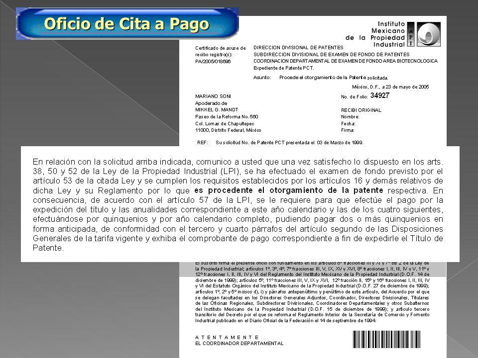 PA/2005/34927 Oficio de Cita a Pago