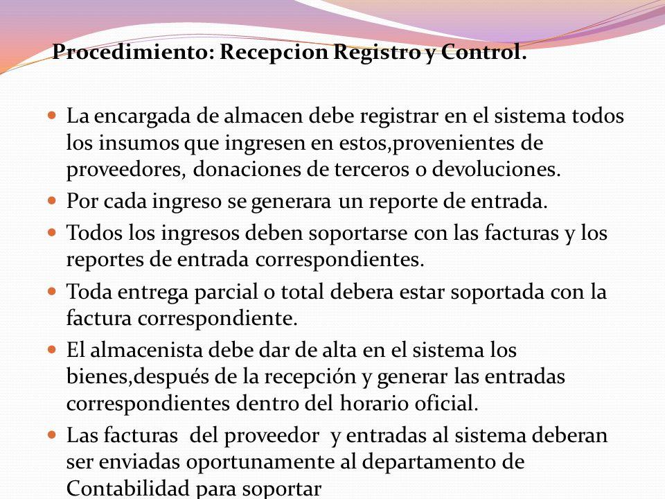 Procedimiento: Recepcion Registro y Control.