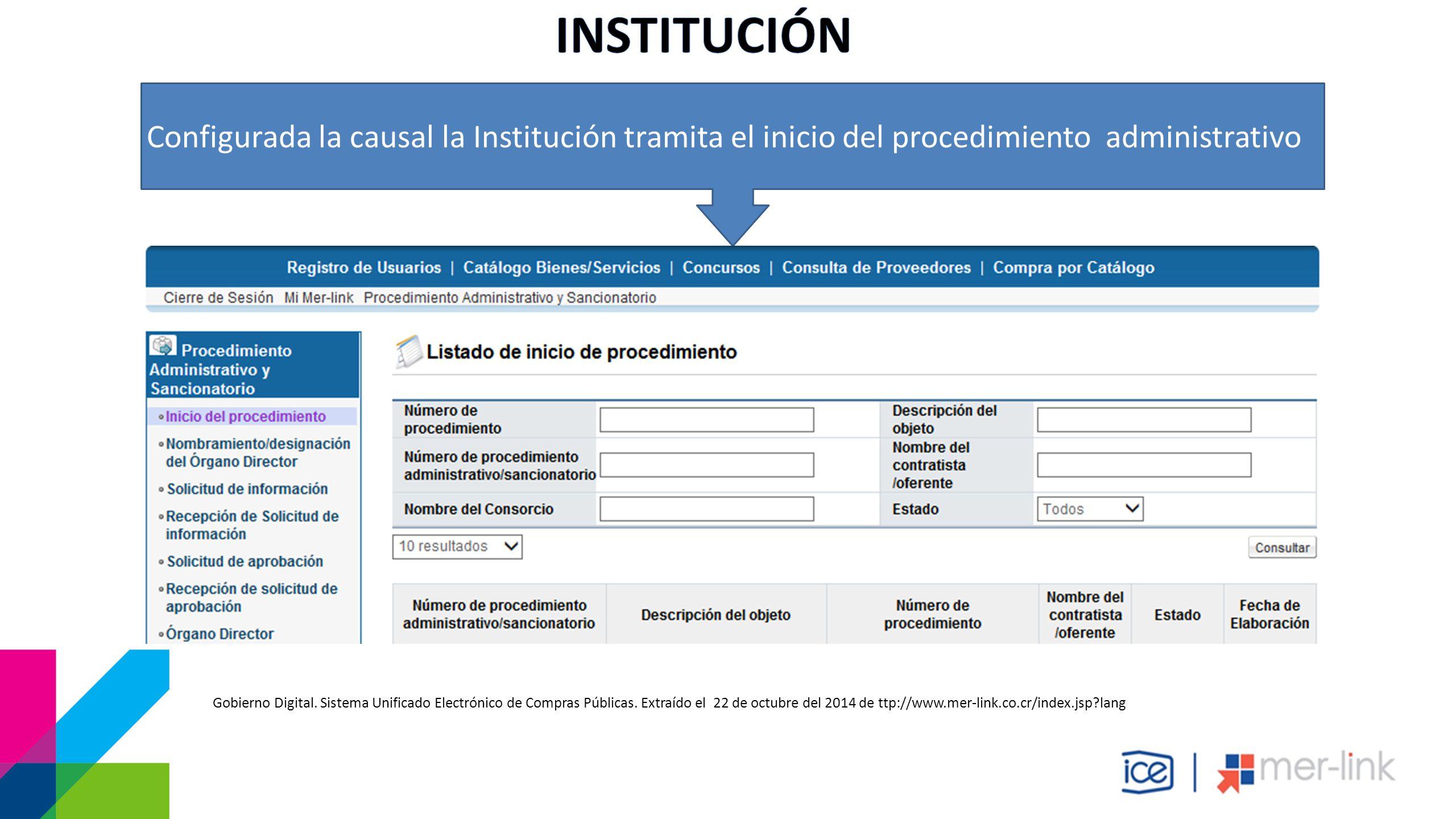 Configurada la causal la Institución tramita el inicio del procedimiento administrativo Gobierno Digital.