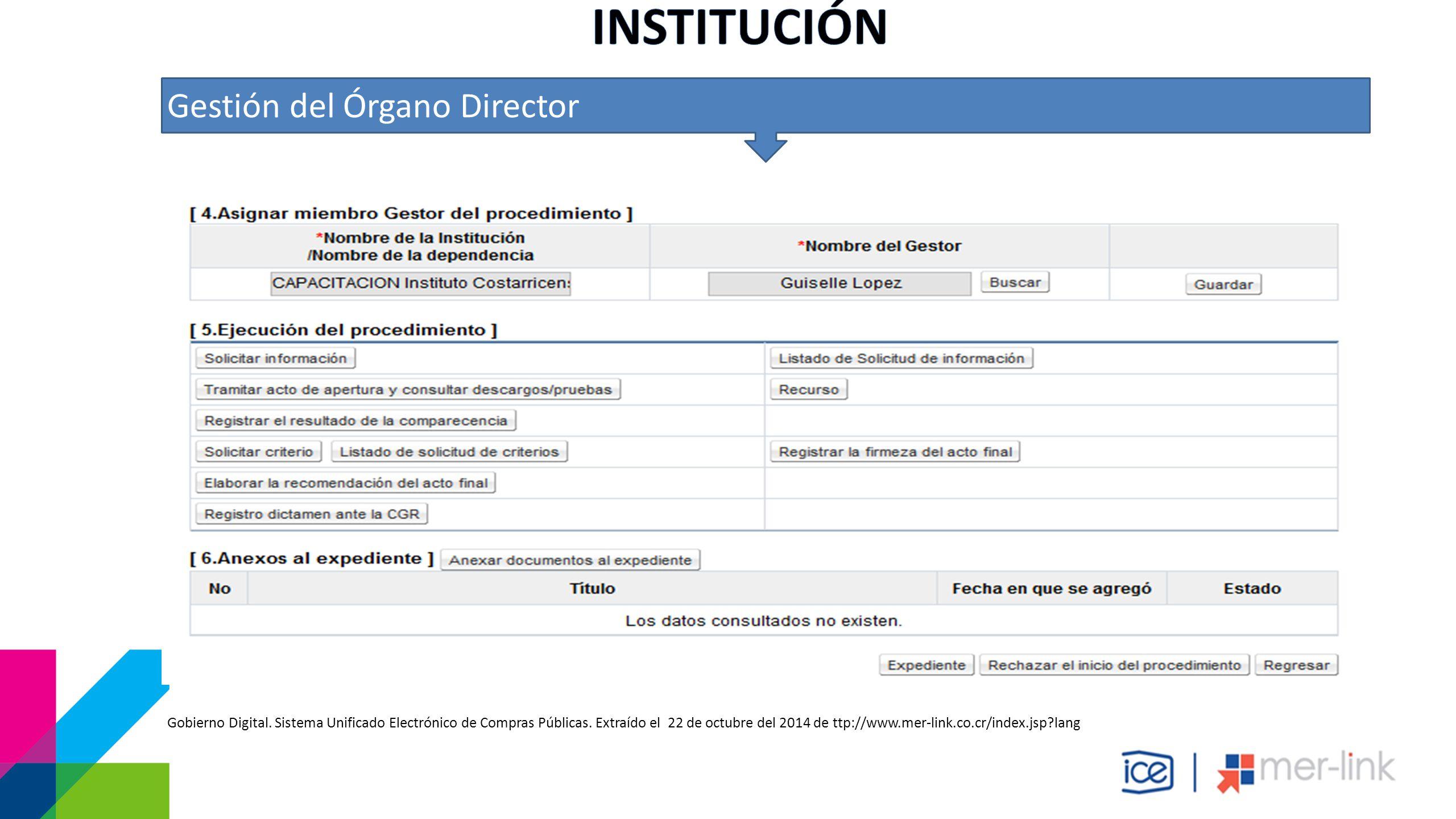 Gestión del Órgano Director Gobierno Digital. Sistema Unificado Electrónico de Compras Públicas.
