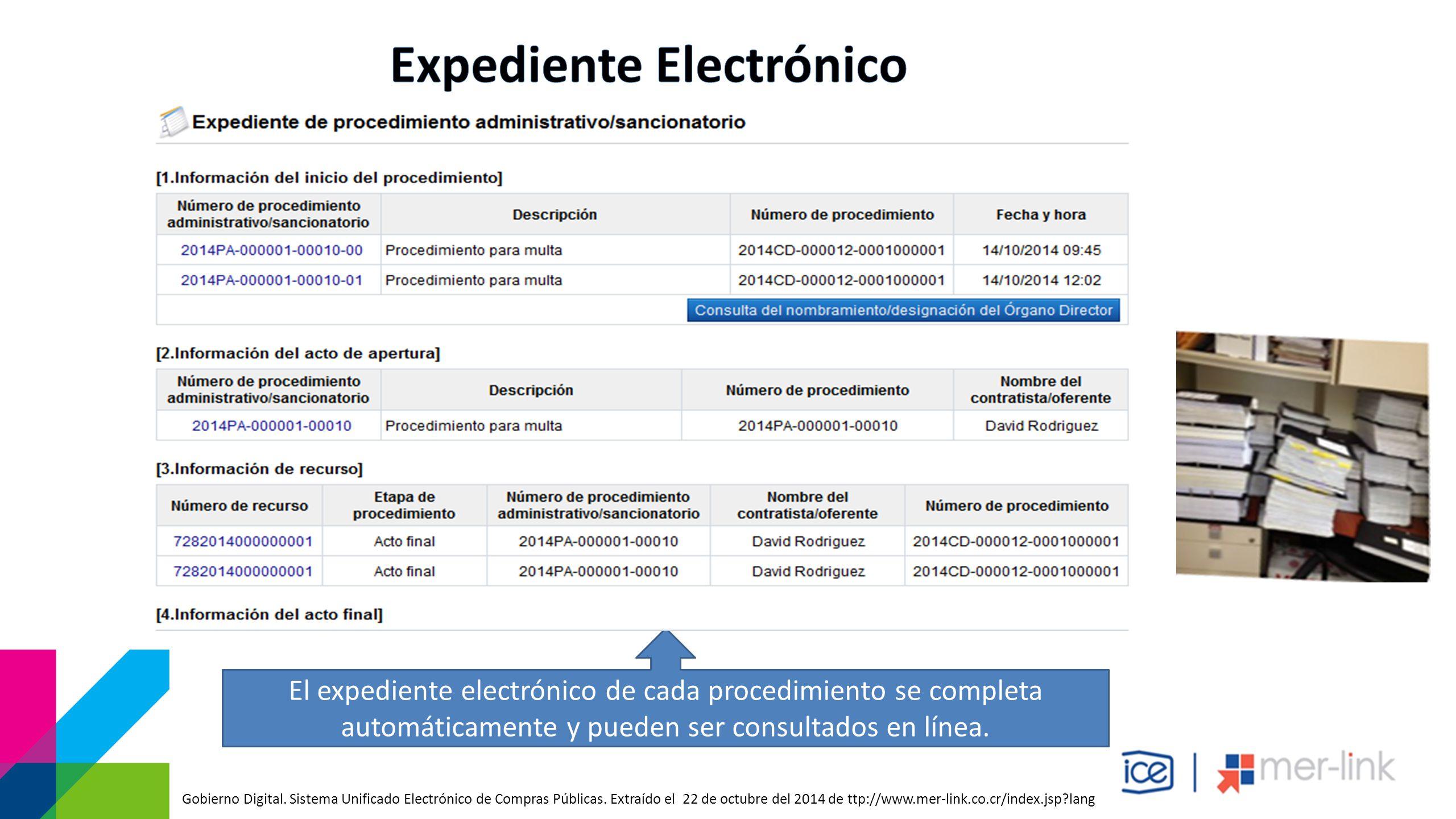 El expediente electrónico de cada procedimiento se completa automáticamente y pueden ser consultados en línea.
