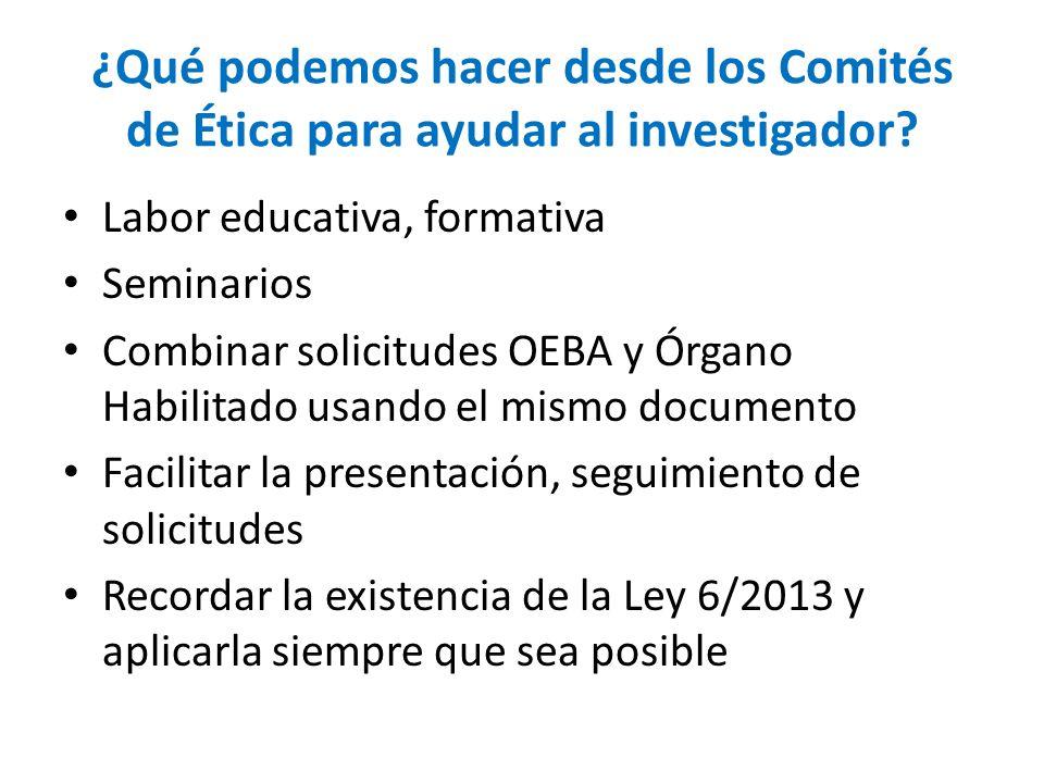 ¿Qué podemos hacer desde los Comités de Ética para ayudar al investigador.
