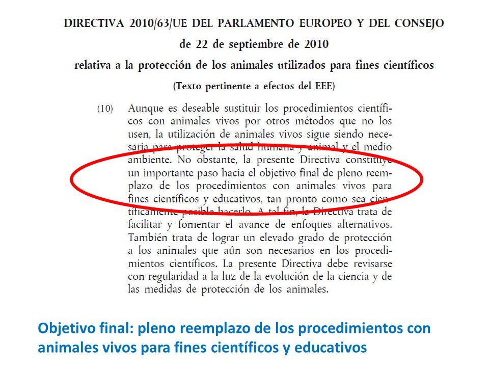 Objetivo final: pleno reemplazo de los procedimientos con animales vivos para fines científicos y educativos