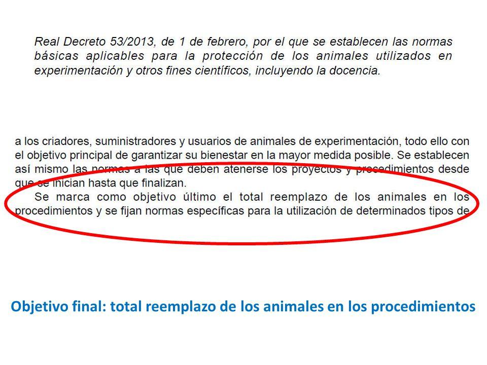 Objetivo final: total reemplazo de los animales en los procedimientos