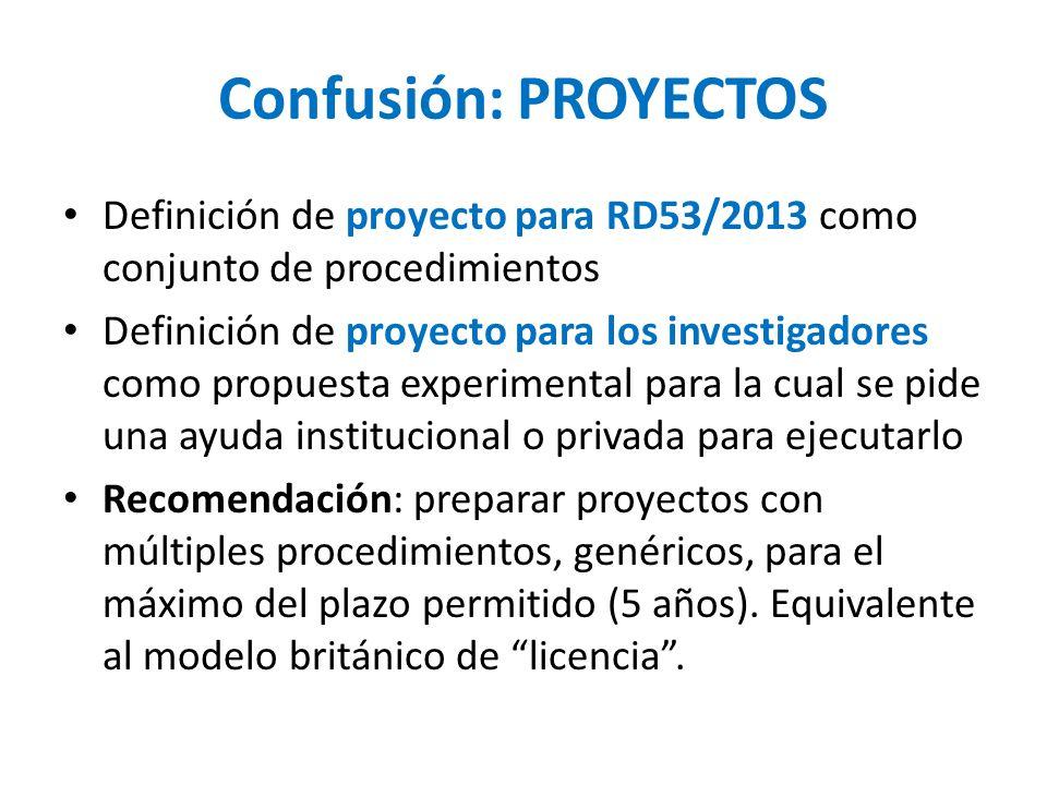 Confusión: PROYECTOS Definición de proyecto para RD53/2013 como conjunto de procedimientos Definición de proyecto para los investigadores como propuesta experimental para la cual se pide una ayuda institucional o privada para ejecutarlo Recomendación: preparar proyectos con múltiples procedimientos, genéricos, para el máximo del plazo permitido (5 años).
