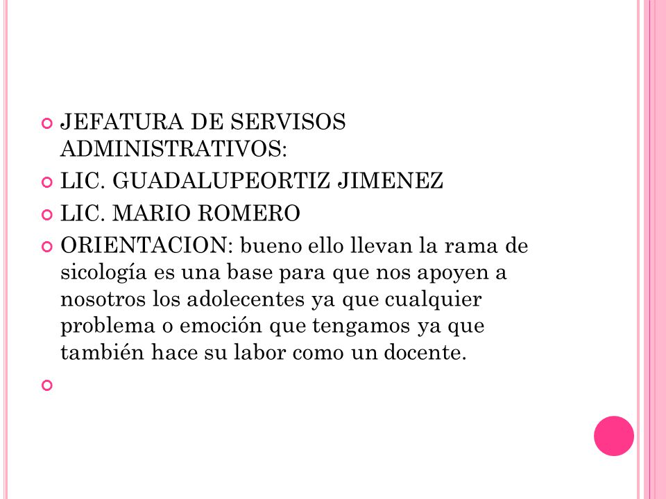 JEFATURA DE SERVISOS ADMINISTRATIVOS: LIC. GUADALUPEORTIZ JIMENEZ LIC.