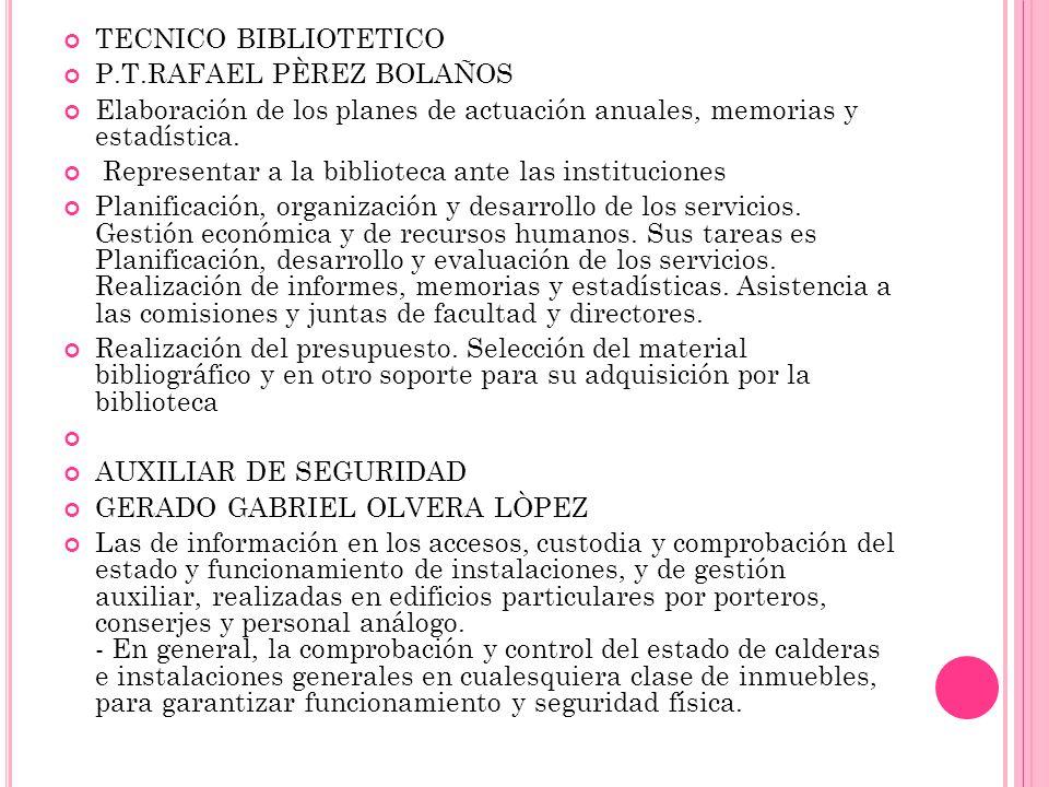 TECNICO BIBLIOTETICO P.T.RAFAEL PÈREZ BOLAÑOS Elaboración de los planes de actuación anuales, memorias y estadística.