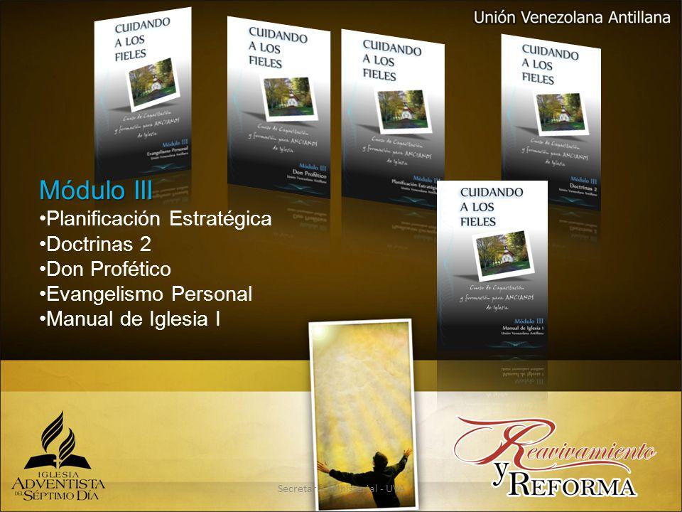 Secretaria Ministerial - UVA Módulo III Planificación Estratégica Doctrinas 2 Don Profético Evangelismo Personal Manual de Iglesia I