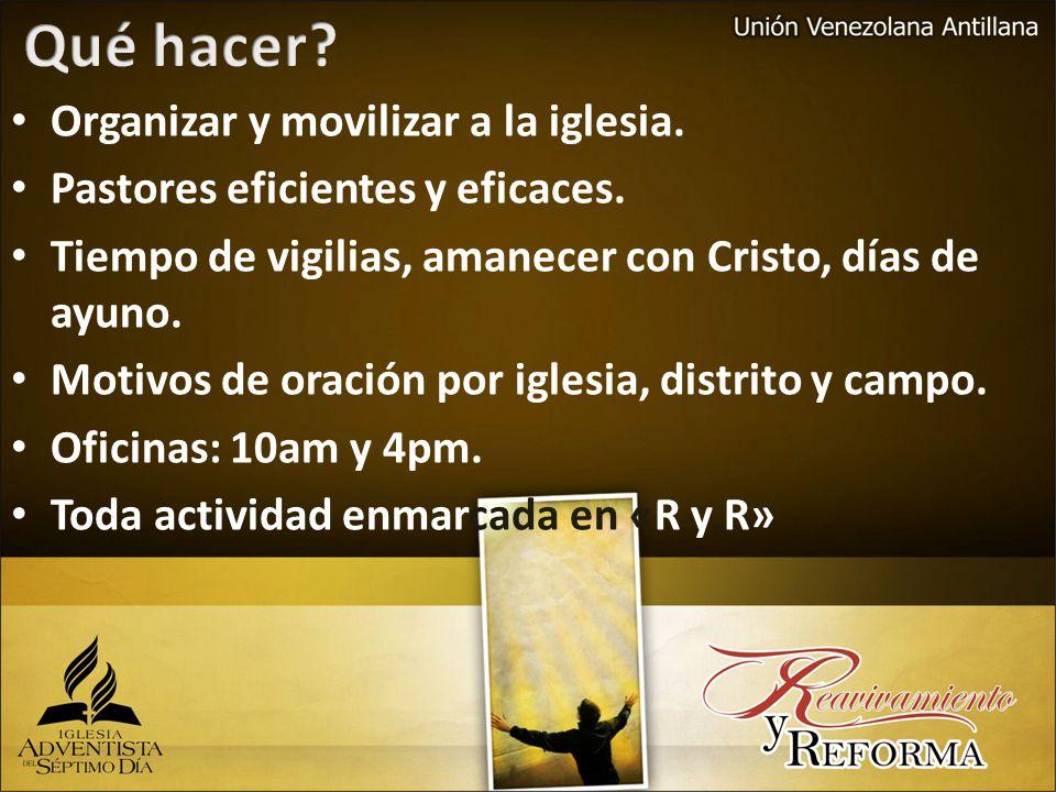 Organizar y movilizar a la iglesia. Pastores eficientes y eficaces.