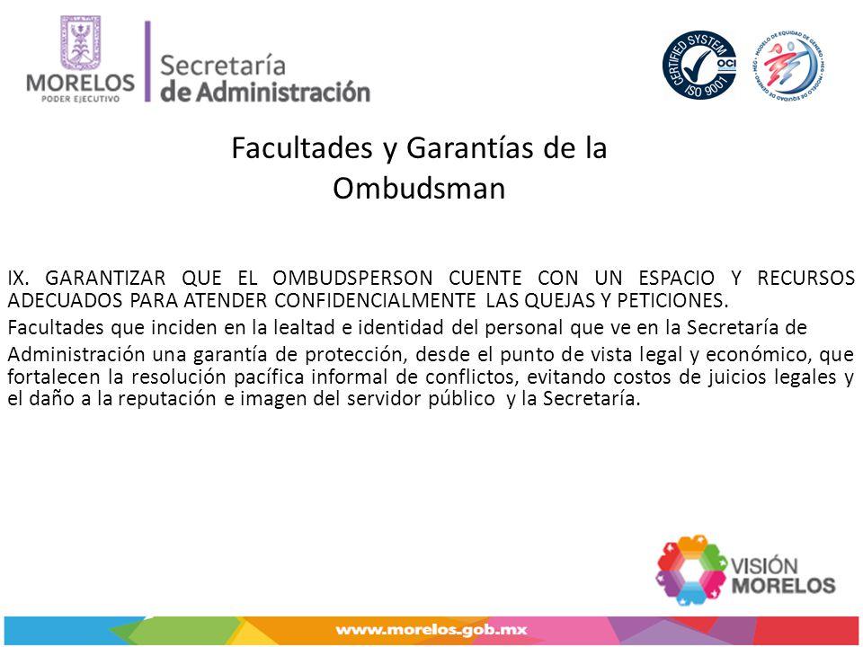 Facultades y Garantías de la Ombudsman IX.