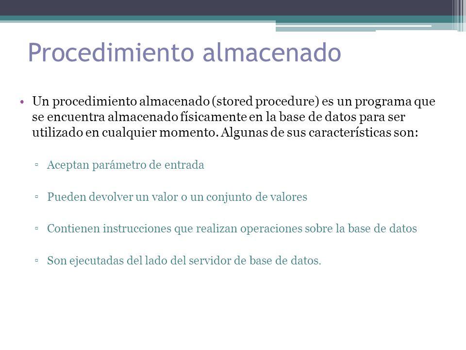 Procedimiento almacenado Un procedimiento almacenado (stored procedure) es un programa que se encuentra almacenado físicamente en la base de datos para ser utilizado en cualquier momento.