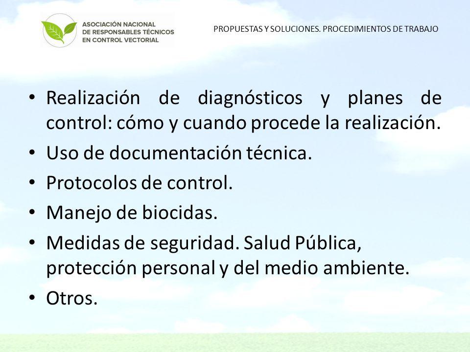 Realización de diagnósticos y planes de control: cómo y cuando procede la realización.