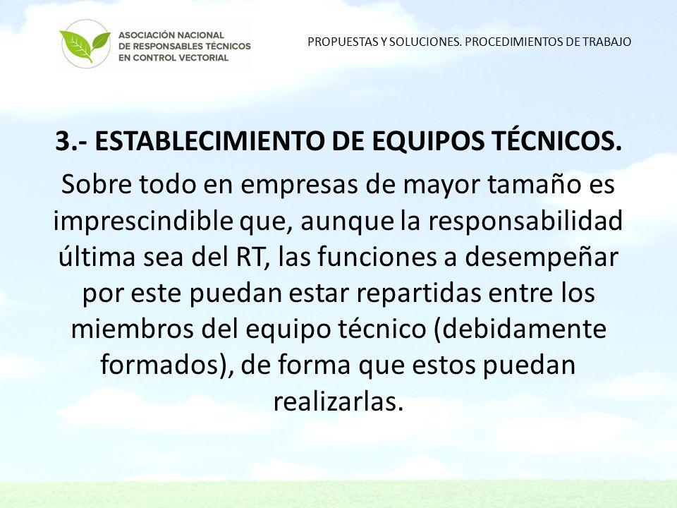 3.- ESTABLECIMIENTO DE EQUIPOS TÉCNICOS.