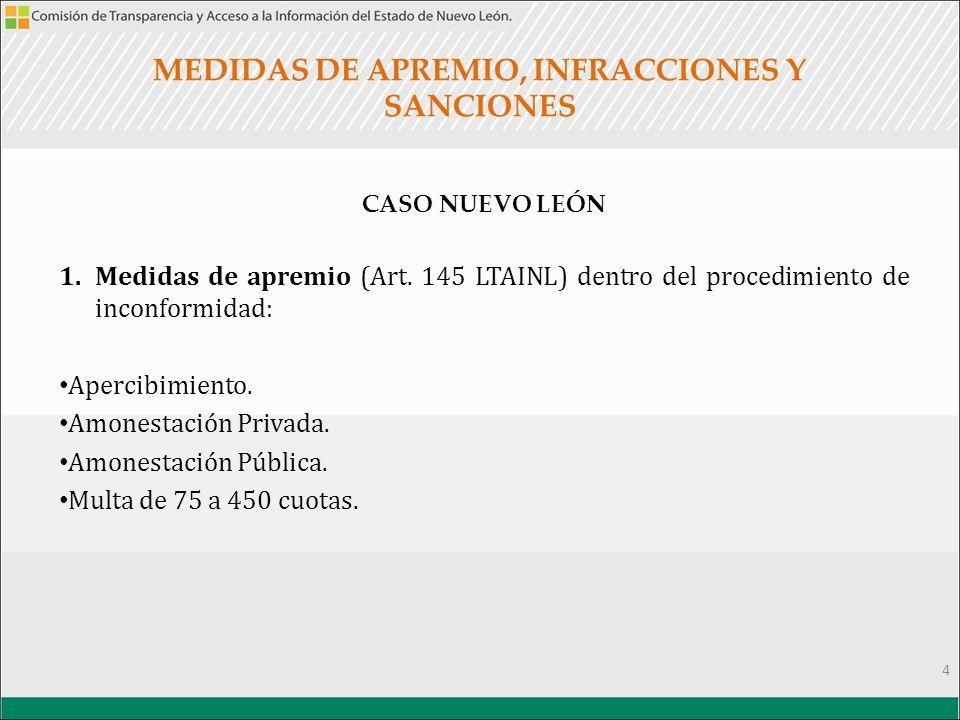 MEDIDAS DE APREMIO, INFRACCIONES Y SANCIONES CASO NUEVO LEÓN 1.Medidas de apremio (Art.