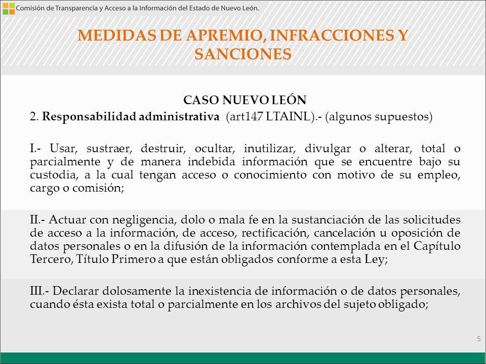 MEDIDAS DE APREMIO, INFRACCIONES Y SANCIONES CASO NUEVO LEÓN 2.