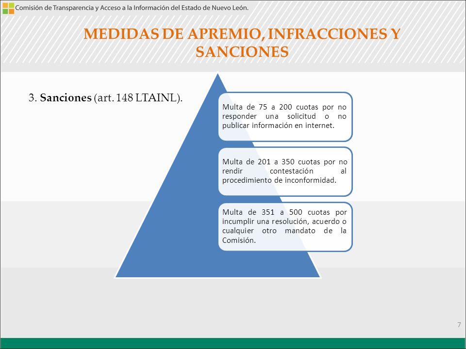MEDIDAS DE APREMIO, INFRACCIONES Y SANCIONES 3. Sanciones (art.