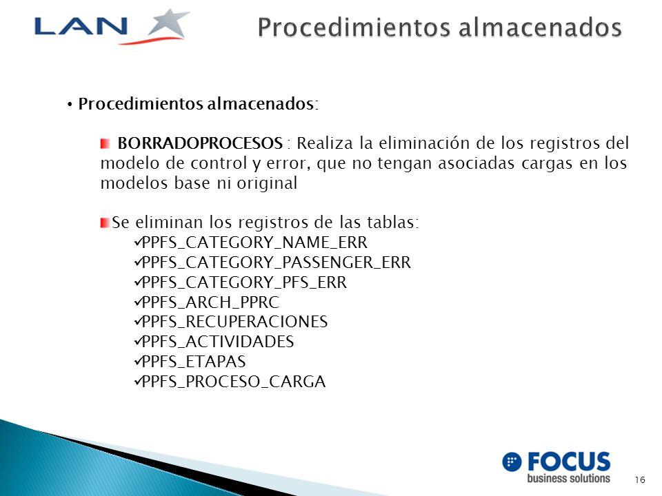 16 Procedimientos almacenados: BORRADOPROCESOS : Realiza la eliminación de los registros del modelo de control y error, que no tengan asociadas cargas en los modelos base ni original Se eliminan los registros de las tablas: PPFS_CATEGORY_NAME_ERR PPFS_CATEGORY_PASSENGER_ERR PPFS_CATEGORY_PFS_ERR PPFS_ARCH_PPRC PPFS_RECUPERACIONES PPFS_ACTIVIDADES PPFS_ETAPAS PPFS_PROCESO_CARGA