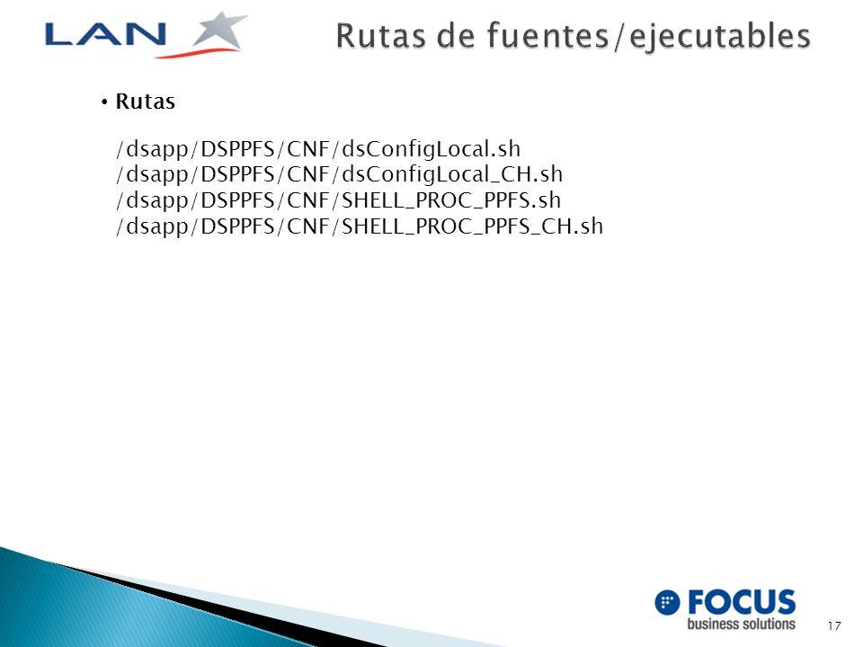17 Rutas /dsapp/DSPPFS/CNF/dsConfigLocal.sh /dsapp/DSPPFS/CNF/dsConfigLocal_CH.sh /dsapp/DSPPFS/CNF/SHELL_PROC_PPFS.sh /dsapp/DSPPFS/CNF/SHELL_PROC_PPFS_CH.sh