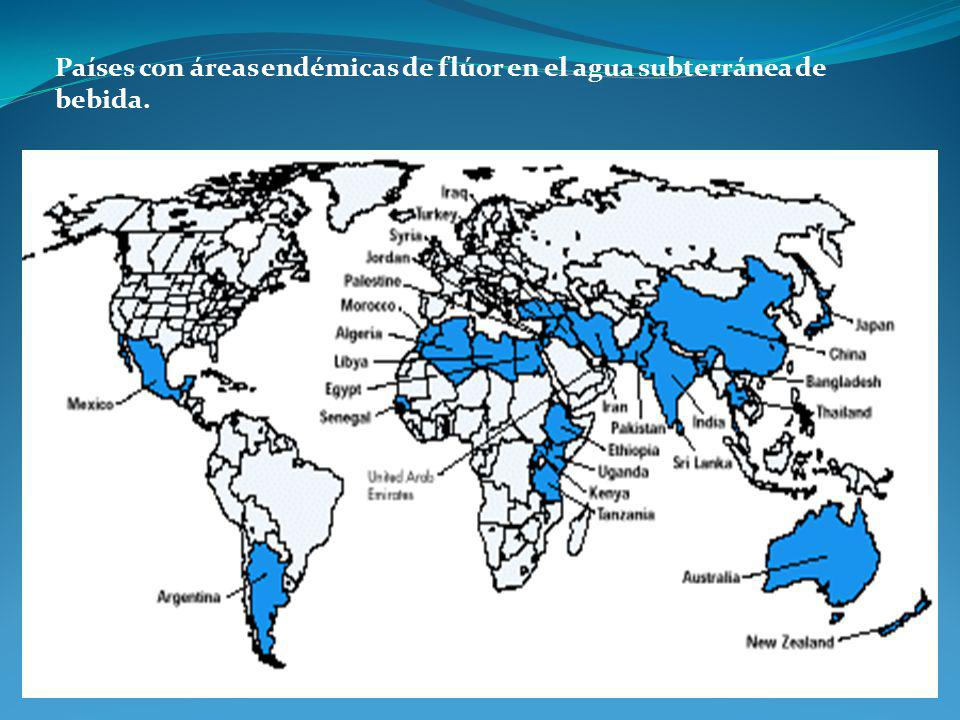 Países con áreas endémicas de flúor en el agua subterránea de bebida.