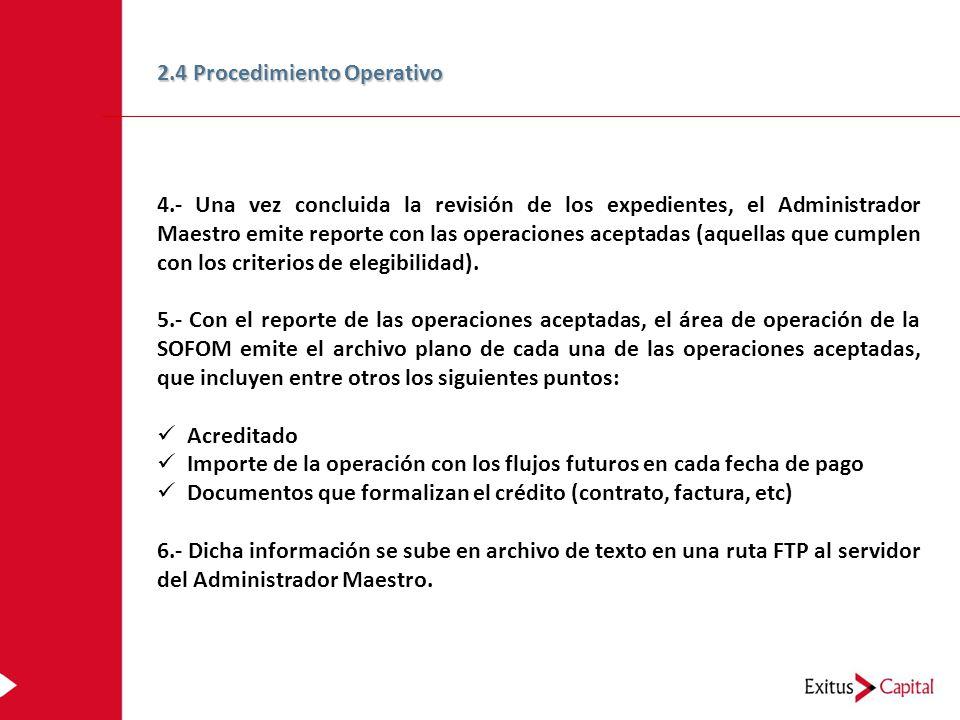 4.- Una vez concluida la revisión de los expedientes, el Administrador Maestro emite reporte con las operaciones aceptadas (aquellas que cumplen con los criterios de elegibilidad).