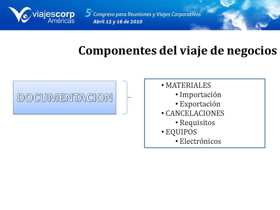 MATERIALES Importación Exportación CANCELACIONES Requisitos EQUIPOS Electrónicos Componentes del viaje de negocios