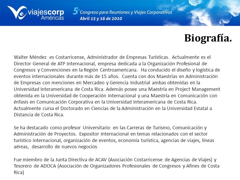Biografía. Walter Méndez es Costarricense, Administrador de Empresas Turísticas.