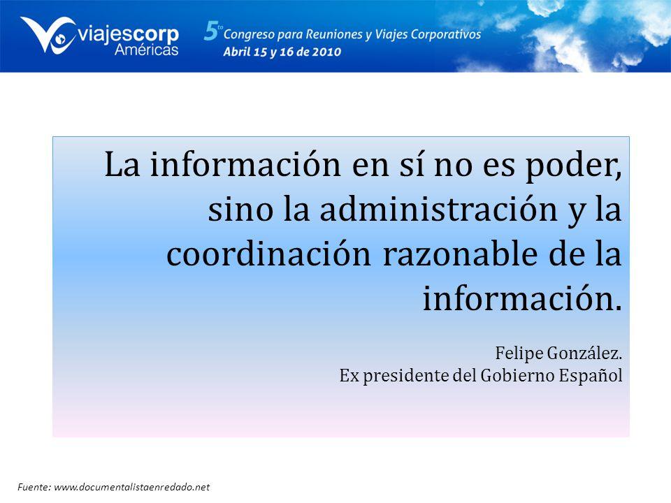 La información en sí no es poder, sino la administración y la coordinación razonable de la información.