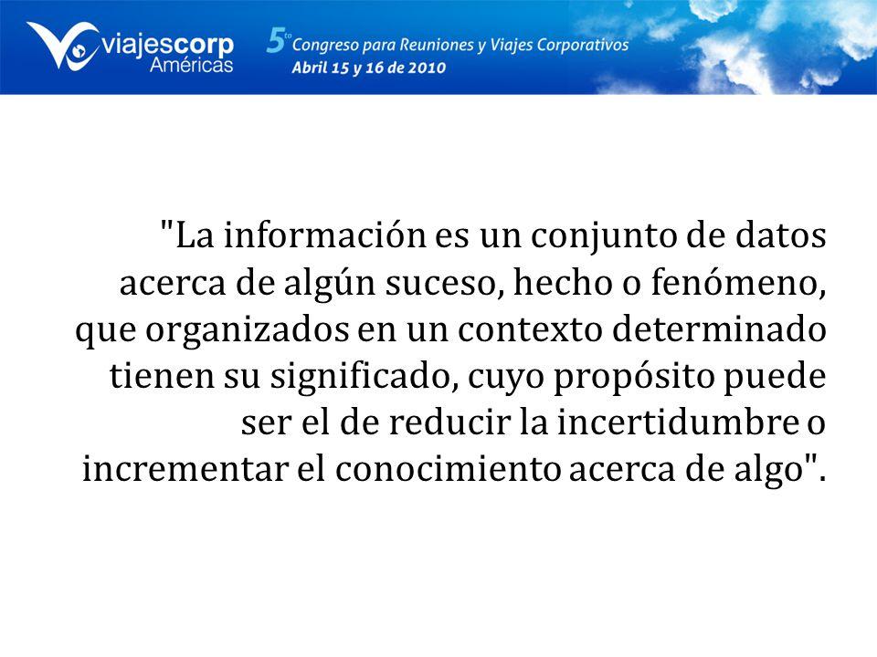 La información es un conjunto de datos acerca de algún suceso, hecho o fenómeno, que organizados en un contexto determinado tienen su significado, cuyo propósito puede ser el de reducir la incertidumbre o incrementar el conocimiento acerca de algo .