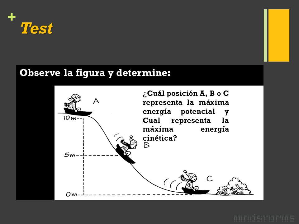 + Test Observe la figura y determine: ¿Cuál posición A, B o C representa la máxima energía potencial y Cual representa la máxima energía cinética