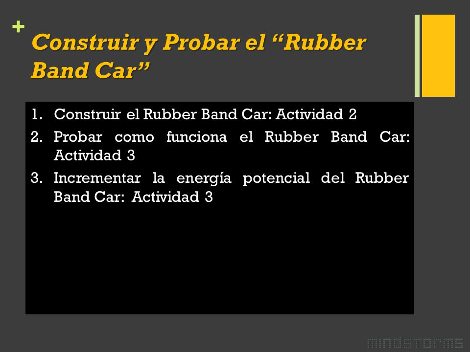 + 1.Construir el Rubber Band Car: Actividad 2 2.Probar como funciona el Rubber Band Car: Actividad 3 3.Incrementar la energía potencial del Rubber Band Car: Actividad 3 Construir y Probar el Rubber Band Car