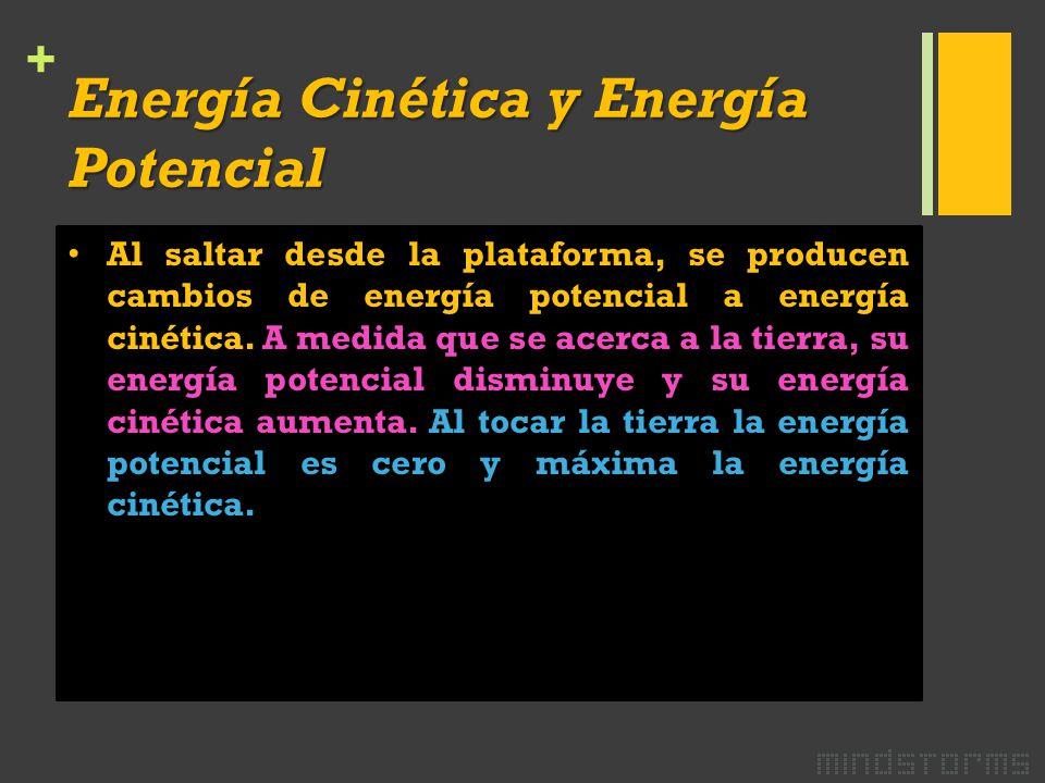 + Energía Cinética y Energía Potencial Al saltar desde la plataforma, se producen cambios de energía potencial a energía cinética.